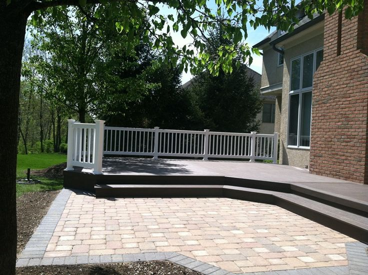 wood deck and stone patio combination  Outdoor Spaces
