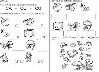 Atividades de alfabetização : Atividades com sílabas CA