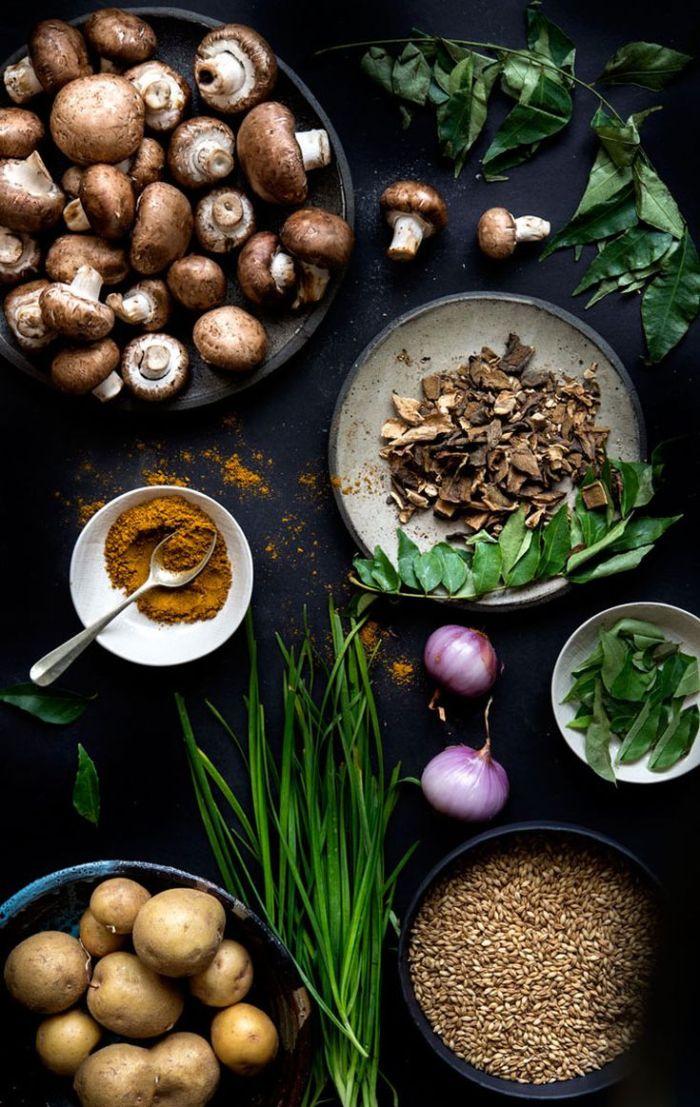 Mushroom, Curry, Barley Soup: