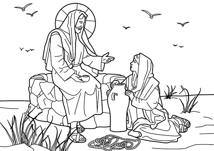 Jesus and the Samaritan woman at the well. Bible coloring