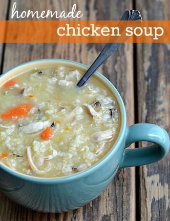 Homemade chicken soup is the best comfort food! It's the perfect healthy recipe to make when someone in the house is sick.:
