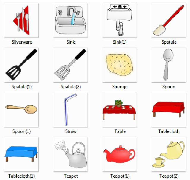 Kitchen Area Utensils Kitchenware Things English Thr