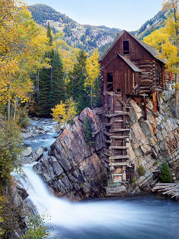 Crystal Mill Fall  Loose Print Autumn Colors along
