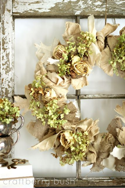 Make a Wreath for Spring (lots of ideas)…. love this idea for family room, old picture frame and wooden cross…must do