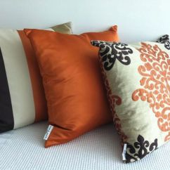 Pillow Ideas For Leather Sofa Makonnen Charcoal Queen Sleeper Set Of 3 Damask Orange, Dark Brown And Otter Designer ...