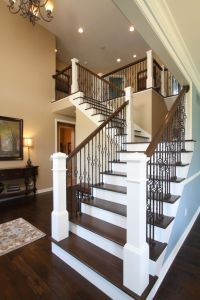 Open railing stairs with wrought iron balusters avbinc.com ...
