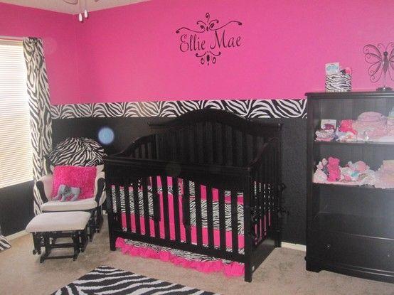 zebra baby room , pink and zebra baby room