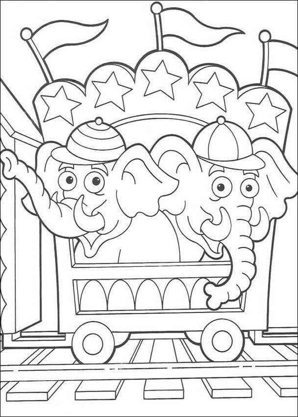 circus elephants dora the explorer coloring page
