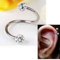16g Clear CZ Crystal Stainless Steel Flexo Twist Ear Helix ...