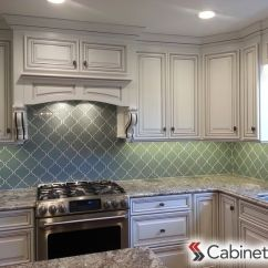 Natural Maple Kitchen Cabinets Islands Bright White Paired With Aqua Backsplash And ...