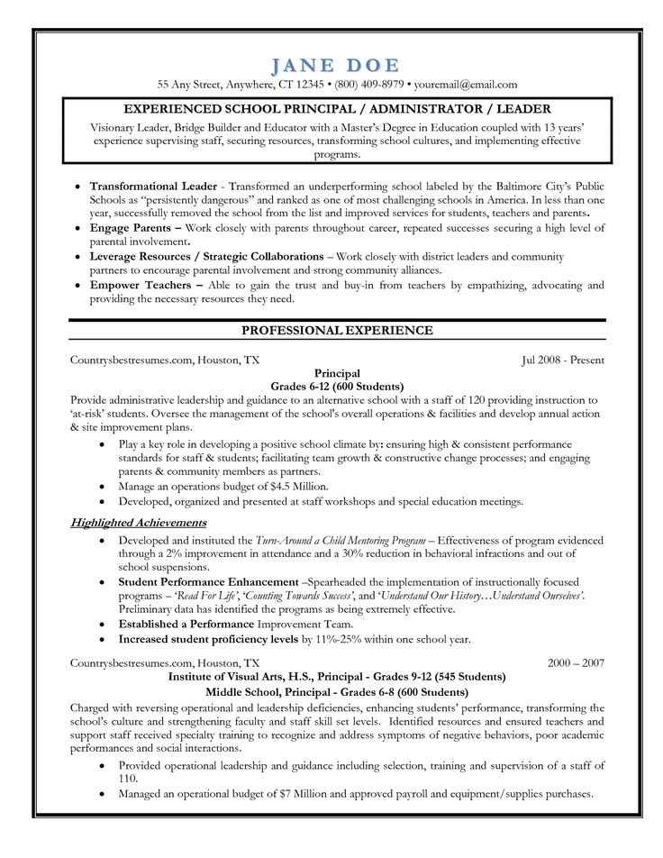 sample resume for administrator in school
