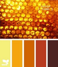 Honeycomb colors. Shades of amber, mustard, rust, gold ...