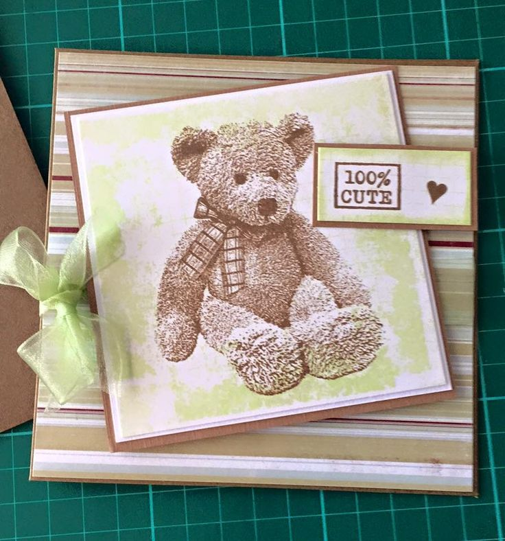 Darkroom Door Hello Baby Teddy Bear Stamp Background
