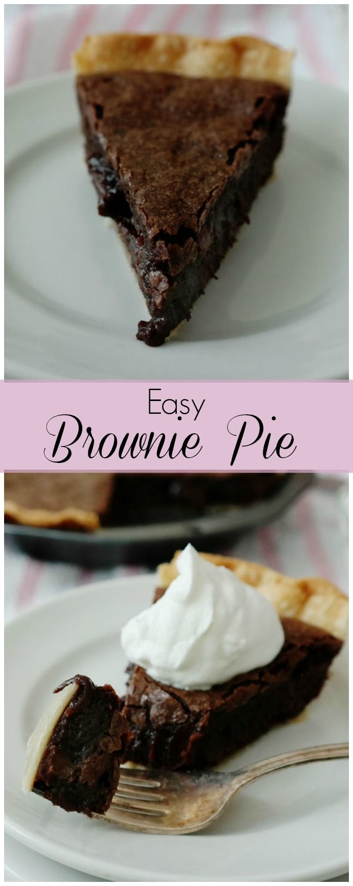 Easy Brownie Pie-taking brownies to the next level and creating an easy dessert-a flaky pie crust surrounds a rich brownie with a