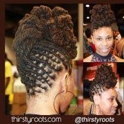 twisted bun dreadlocks hairstyle