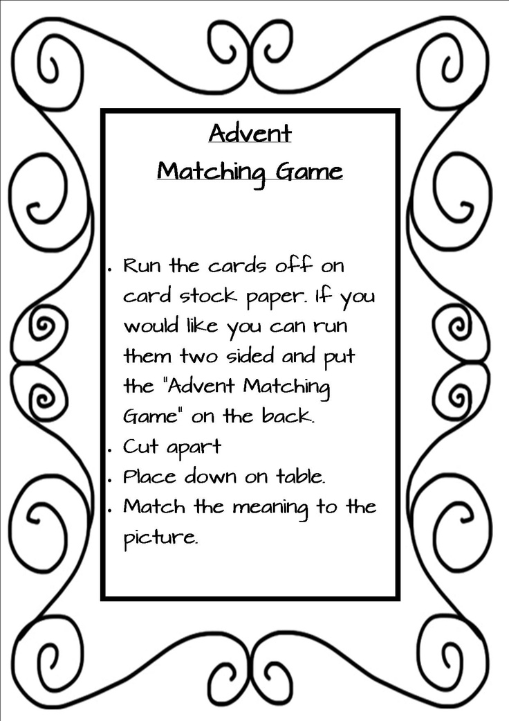 Free Advent Matching Game with symbols and descriptions
