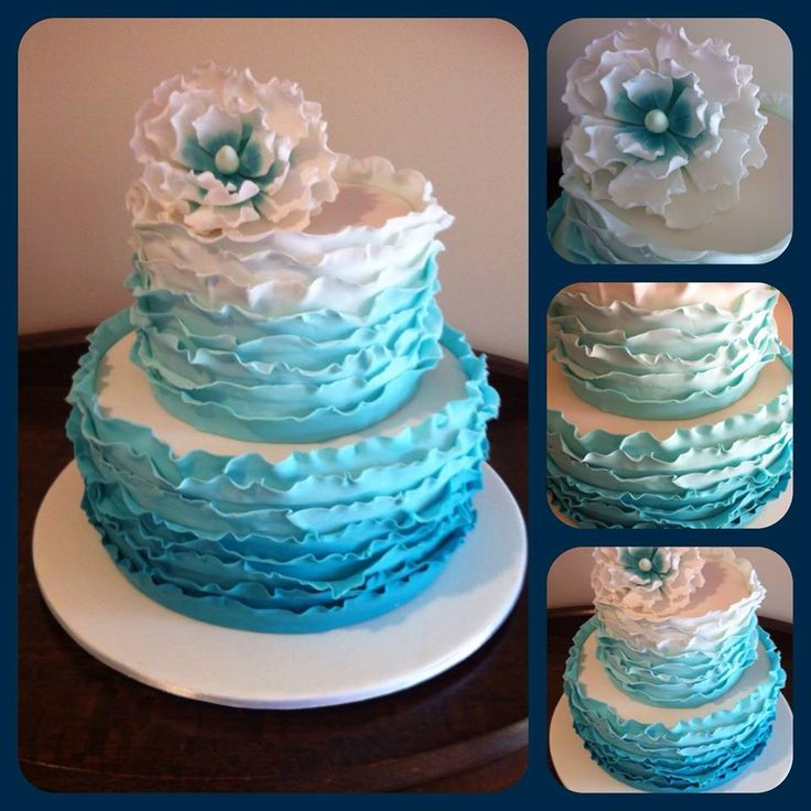 Blue ombre ruffle wedding cake  Cakes by Simone  Pinterest  Wedding Ombre and Cake wedding