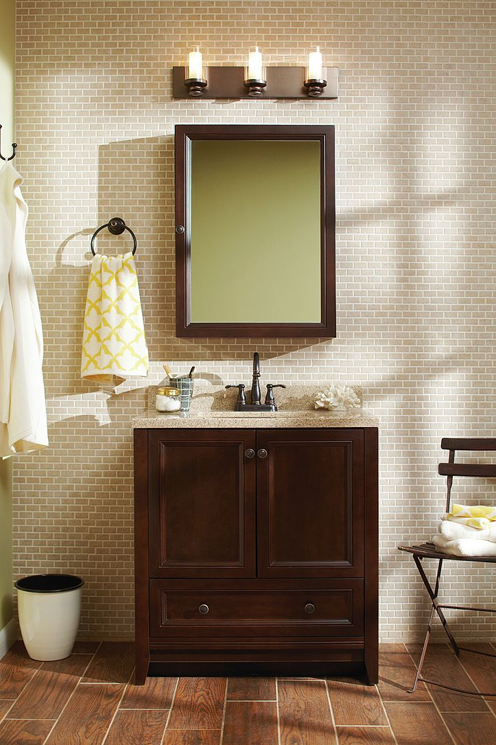 The Glacier Bay Delridge bathroom vanity combo features a