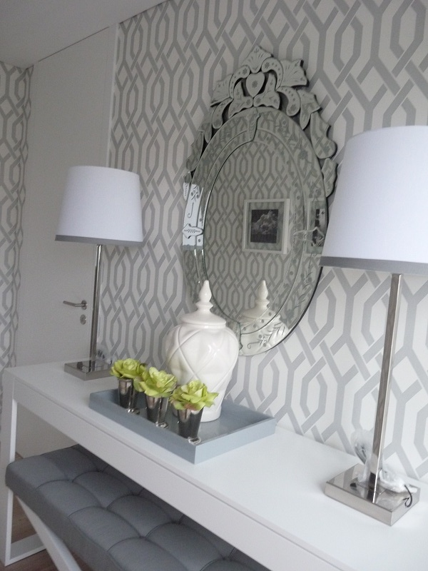 Grey and white trellis wallpaper  Wallpaper inspiration