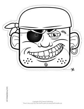 Bandana Pirate Mask to Color Printable Mask, free to