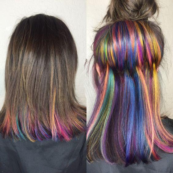 Best 25 Rainbow Hair Highlights Ideas On Pinterest Colored