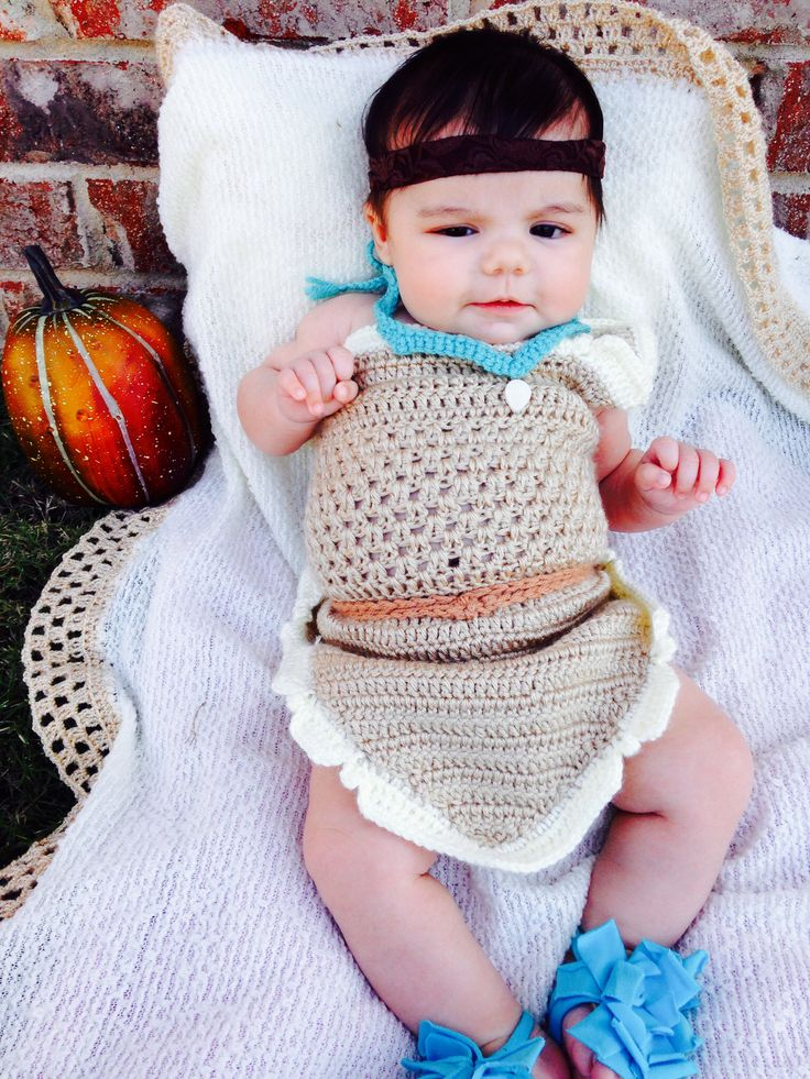Baby girl Pocahontas crochet costume Halloween Disney