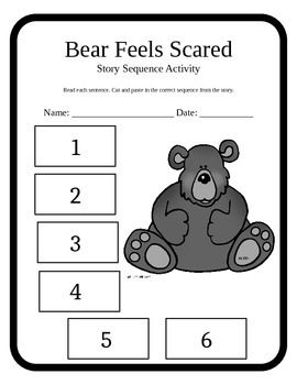 Sequencing activity and vocabulary sheet to accompany Bear
