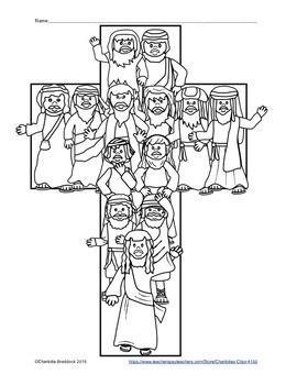 This free printable features the 12 apostles in the shape