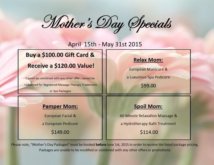 European day spa salons mothers day specials for 2015