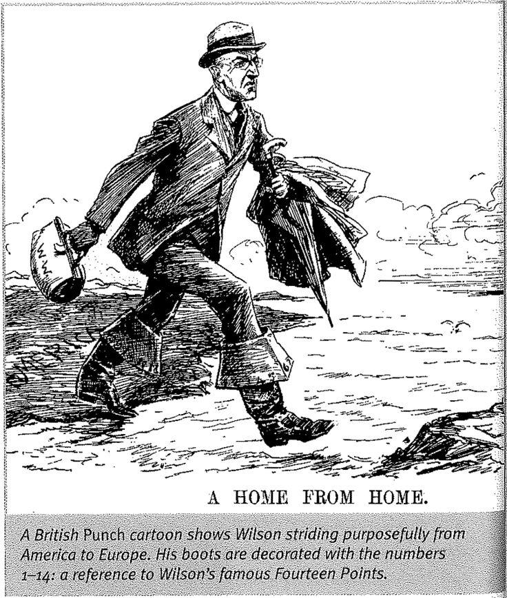 A British Punch cartoon shows Wilson striding purposefully