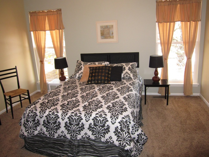 Staged Master bedroomthats an air mattress and a