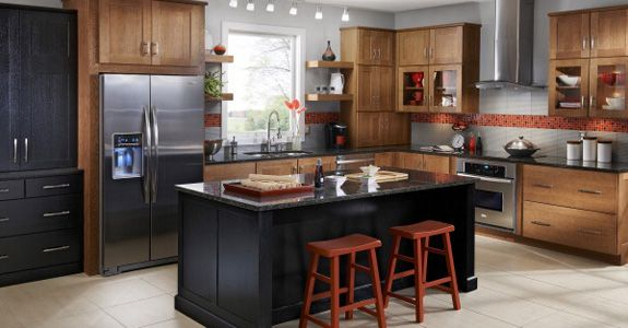 I like the red  gray with dark countertop and lighter