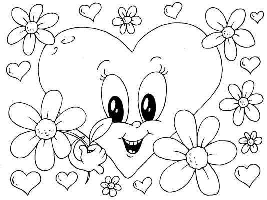 A cute Valentines Heart coloring page for you to color in