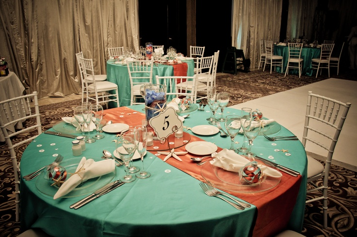 Beach Wedding Setup: Aqua And Coral Color Theme