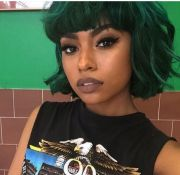 black girl nude lip & dyed green
