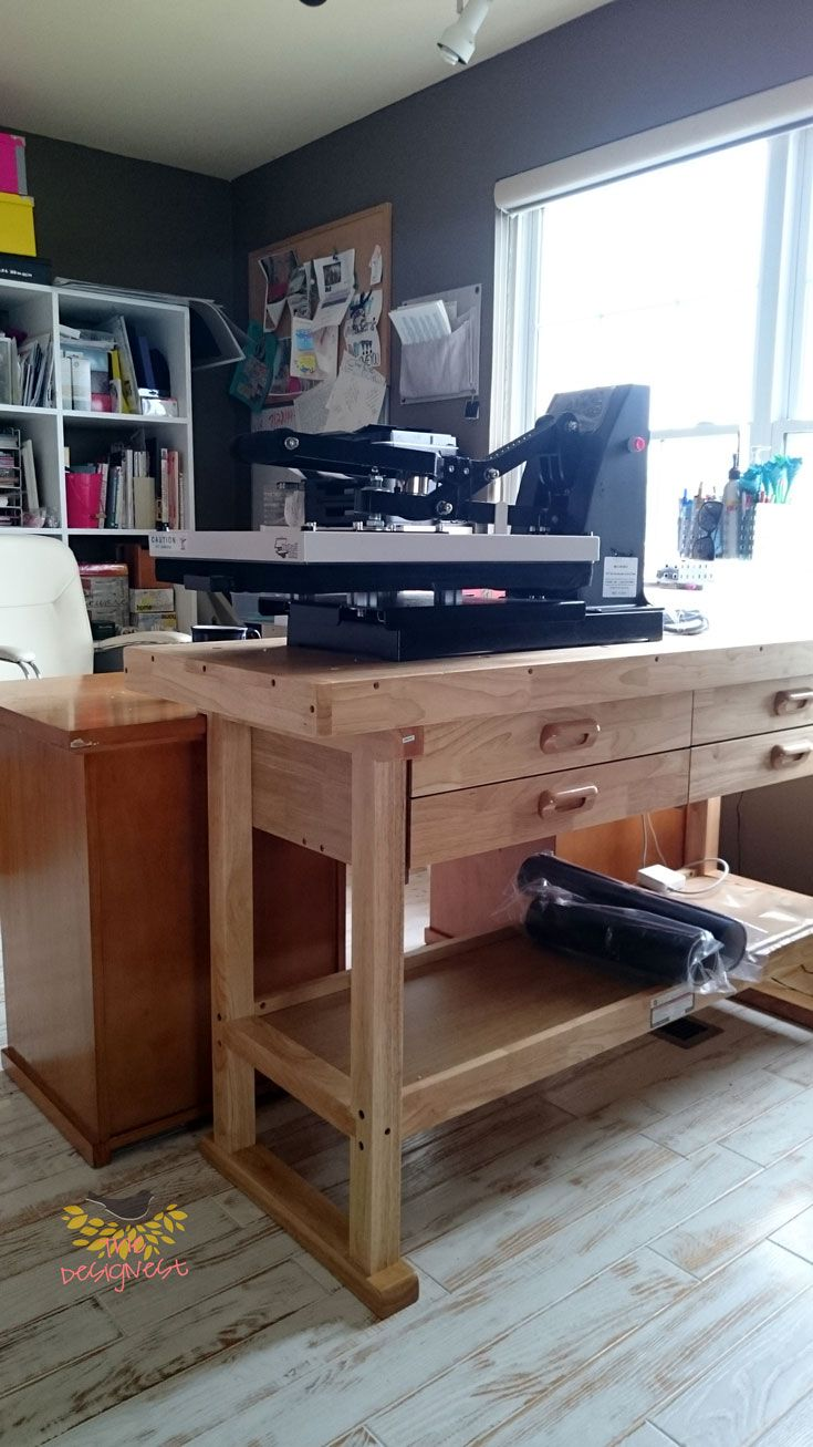 This workbench is great to put a heat press on  THE