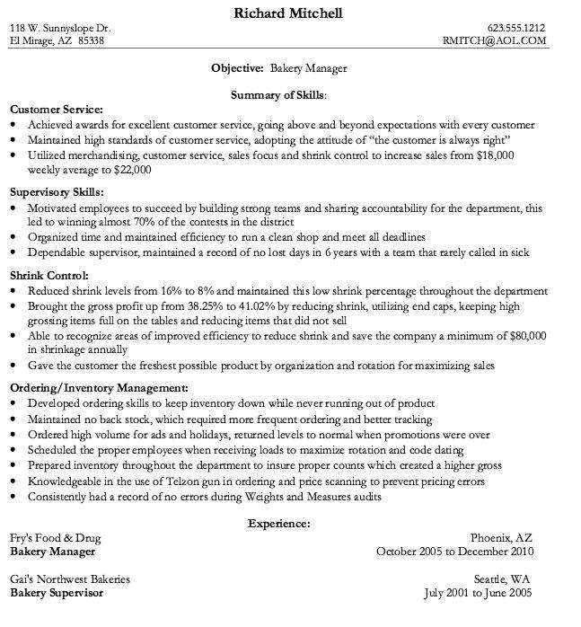 resume objective bakery job