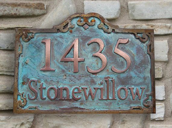 Two Tone Address Plaque Coated In Copper And Iron Trim