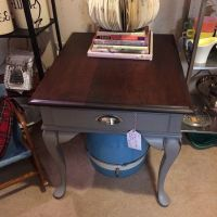 Vintage refinished cherry end table in fruit stain and ...