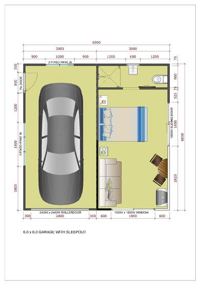 6x6 Side Entry Garage With Sleepout Roller Doors Floorplan