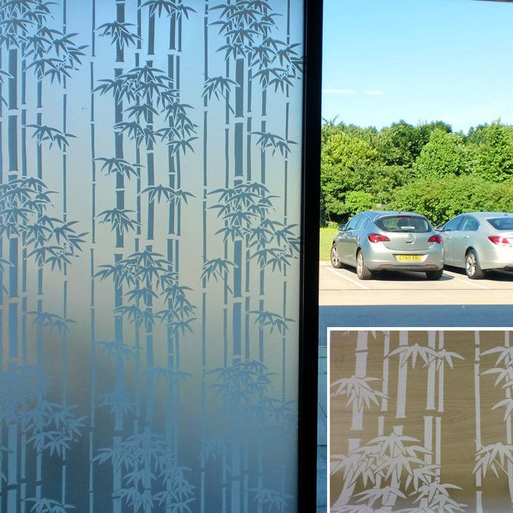 White Bamboo Frosted Decorative Window Film 90cm X 1m