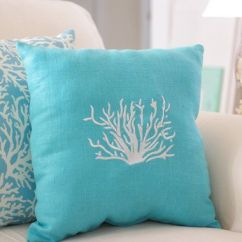 Diy Living Room Chair Cover Small Ideas Gray Couch Beach Decor Turquoise Blue, Throw Pillow, Linen Coral ...