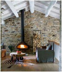 Stone Wall behind wood stove. | Fireplace stone ...