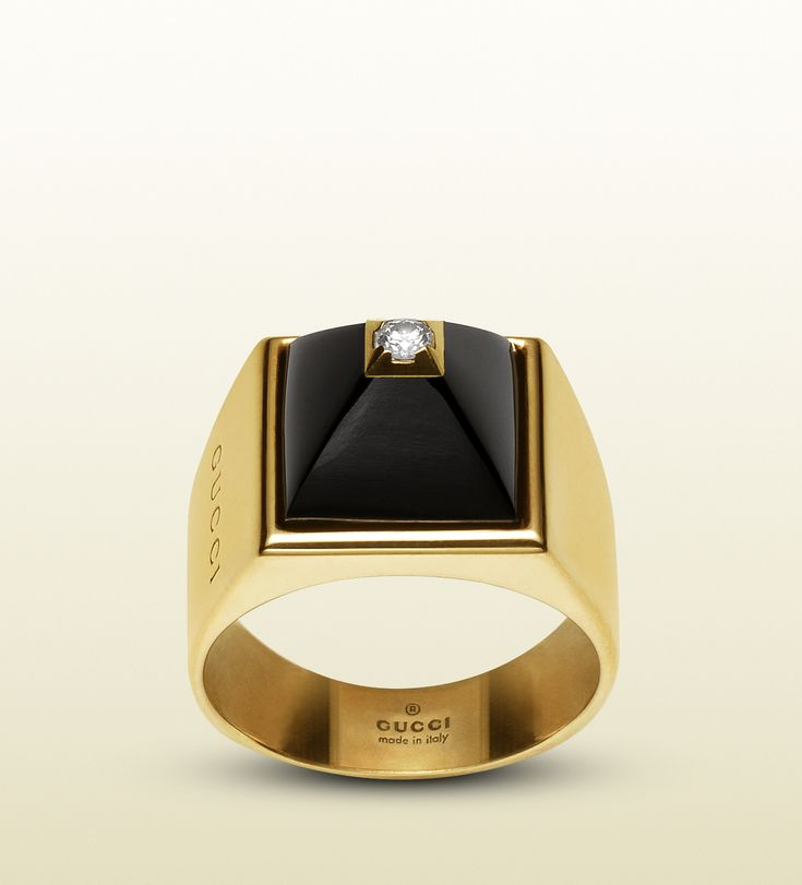 gucci ring in 18k in yellow gold diamonds and black chalcedony  My fashion sensestyle