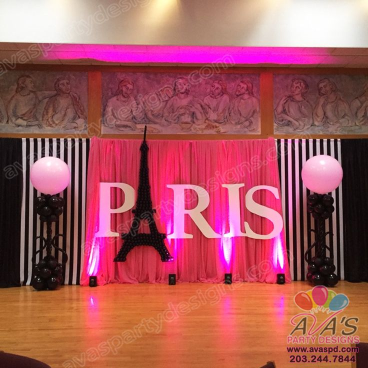 Paris Themed Balloon Decor And Fabric Backdrop Large