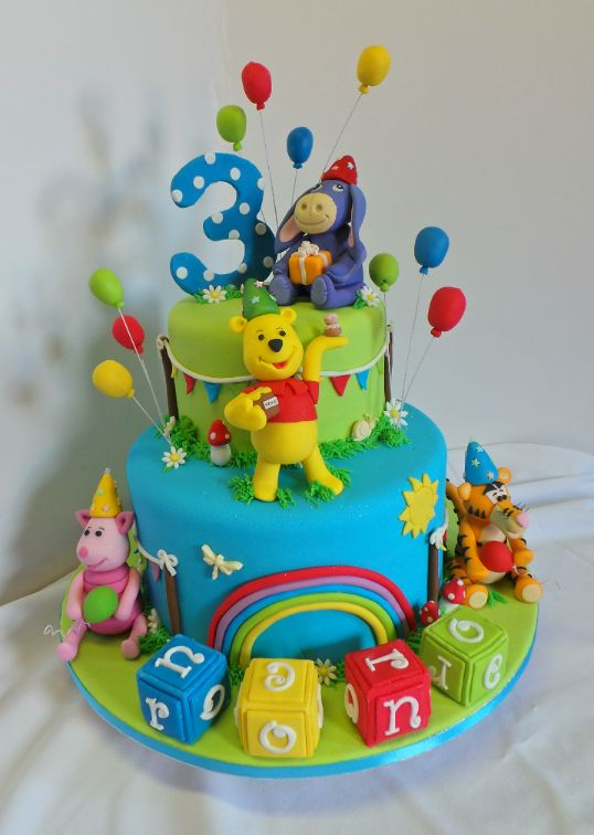 Winnie The Pooh And Friends Birthday Cake Fondant