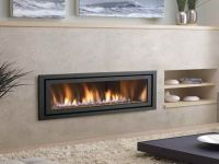 Modern Ventless Gas Fireplace with white soft carpet ...