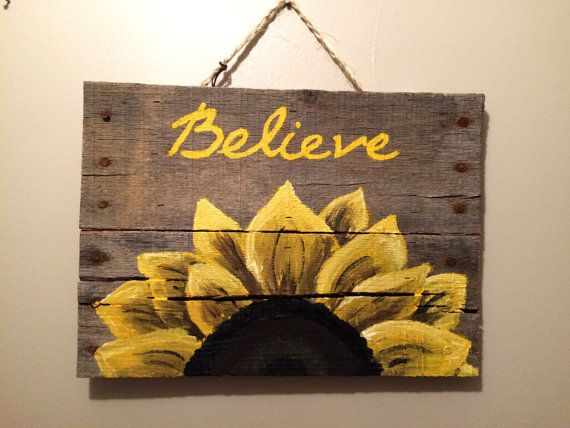 Welcome Sign on reclaimed wood Large sunflower Welcome sign