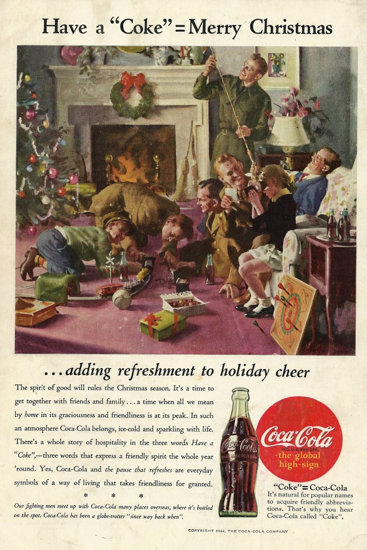 Vintage Christmas Coke Ad 1944 World War 2 US Military