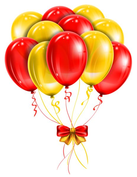 transparent red yellow balloons